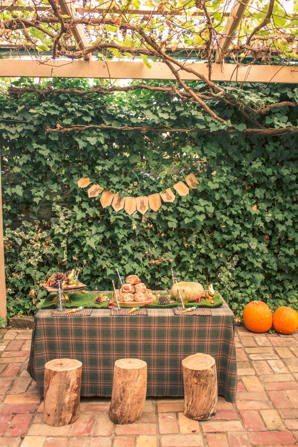 Children party table decorated with bunting, pumpkins, wooden logs and woodland themed styling at autumn easter egg hunt in Australia