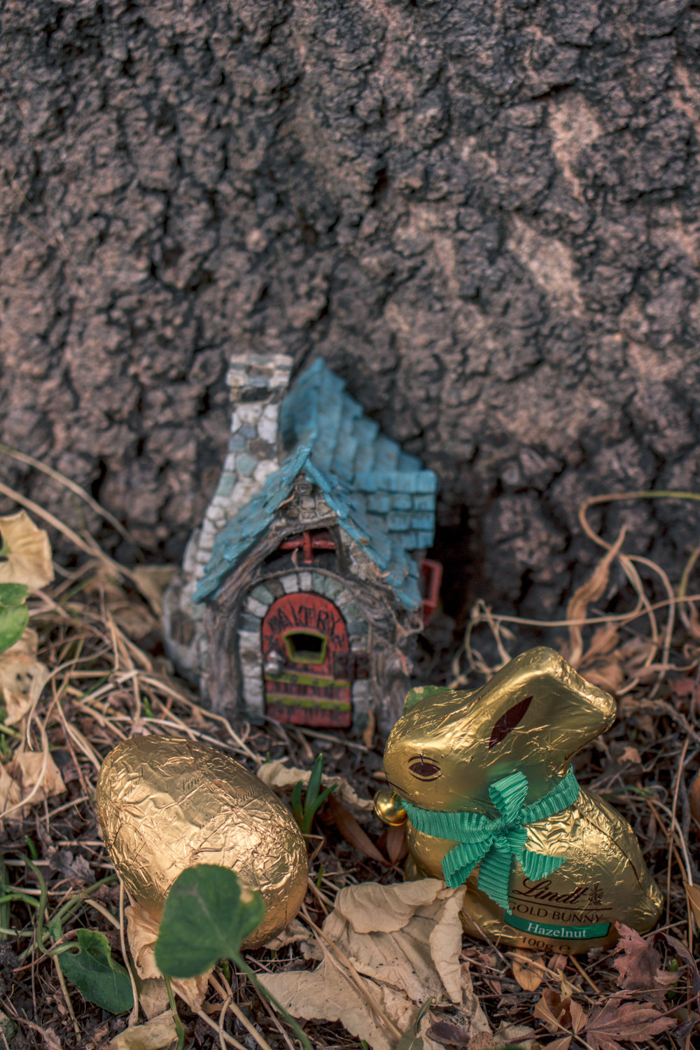 Fairy house and chocolate eggs and bilby at the Autumn Themed Easter Egg Hunt in Australia.