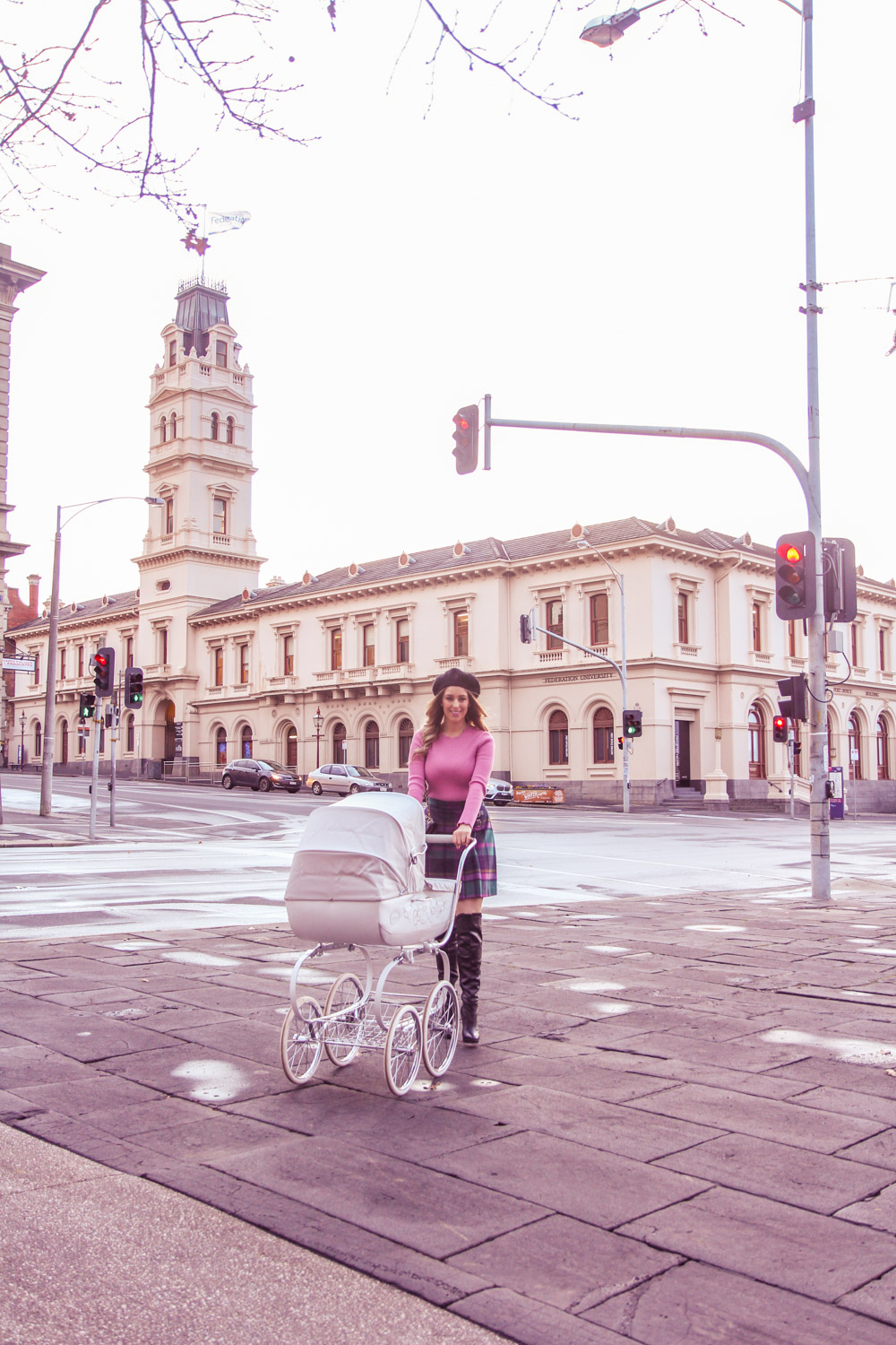 Deneale from Goldfields Girl pushing a vintage pram and wearing a beret