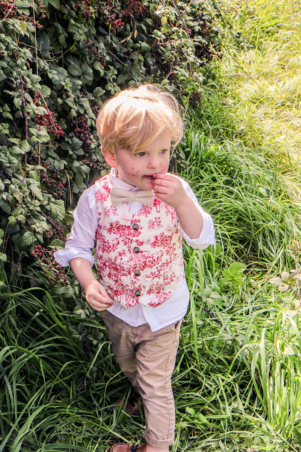 Little boy eating freshly picked blackberries